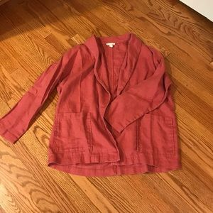 Eileen Fisher heavy linen shawl collar jacket